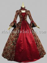 Georgian Victorian Gothic Period Dress Masquerade Ball Gown Reenactment Theatre Costume Red