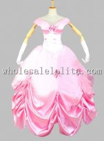 Disney Cosplay Princess Belle Adult Costume Pink Ball Gown
