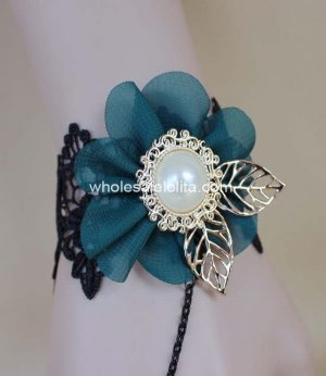 New Black Lace Navy Blue Flower Big Pearl Retro Court Princess Bracelet & Ring