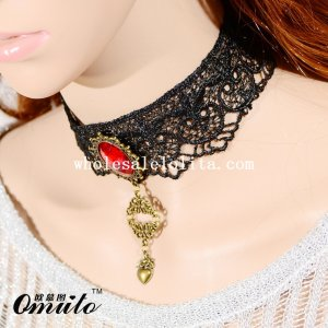 Fashion Black Lace Necklace with Ruby and Heart Pendant