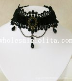 Vintage Gothic Collar Choker Gem Pendant Black Lace Necklace for Women