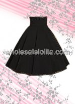 Black Pleated Long Cotton Lolita Skirt
