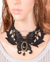 Hot Sale Elegant Black Lace Necklace with Gem