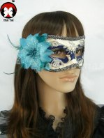 Manual Blue And White Mardi Gras Mask