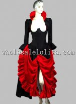 Gothic Black and Red Thai Silk Historical Euro Court Princess Dress
