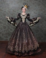 Dark Black Marie Antoinette Victorian Dress Prom Gown Halloween Dress