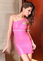 Sexy Pink One Shoulder PVC Mini Dress