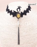 Elegant Black Lace Collar Choker Swan Yellow Gem Pendant Hotsale Necklace