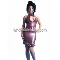 Sexy Chest Hollow Out Violet Halter Latex Dress with Ruffled Hem