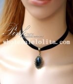 Fashion Vintage Black Velvet Collar Choker Gem Pendant Necklace for Women's Gift