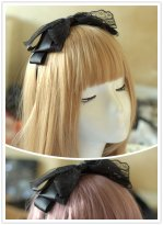 Black Big Bow Lace Cosplay Maid Lolita Handband