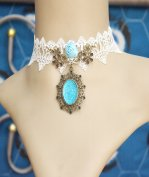 Gothic Sky Blue Crystal Lolita Necklace