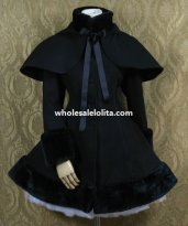 Sweet Black Wool Lolita Coat with Detachable Hooded Cape