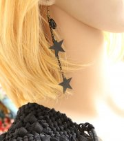 Black Five-pointed Star and Pearl Lolita Earrings EH-09