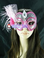 Sexy Transparent Pink Lace Flower Bud Masquerade Mask