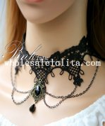 Gothic Elegant Black Lace Gem Pendant Chain Necklace for Women