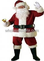Deluxe Plush Santa Claus Costume for Sale