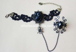 New Gothic Vintage Black Rose Spider Bracelet & Ring