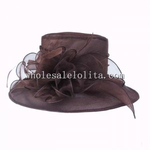 New Coffee Organza British Big Brim Kentucky Derby Hat
