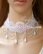 Women's White Gothic Lace Pearl Pendant Necklace for Gift