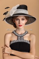 British Style Black and Beige Bow Elegant Ladies Big Brim Hat