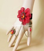 Gothic Royal Court Black & Red Flower Gem Vampire Bracelet