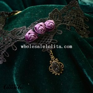 Elegant Vintage Collar Choke Lace Pendant Necklace Chain with Pruple Roses