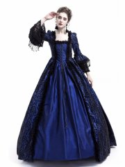 Blue Masked Ball Gothic Victorian Costume Dress Halloween Gown