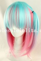 Fashion Womens Japan Harajuku Mix-colored BOBO Straight Cosplay Wig