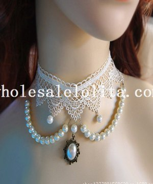 Women's Luxury Handmade Pearl Pendant Chain White Lace Necklace for Bride/Bridesmaid Accessory