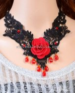 Black Gothic Lace Necklace with Res Rose