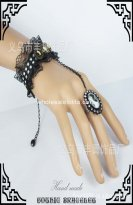 Ladies Gothic Black Lace Bracelet & Ring