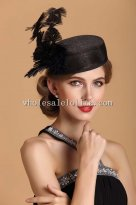 Ladies Vintage Black Feather British Party Hat