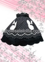 Black White Dots Lolita Skirt Made of Cotton
