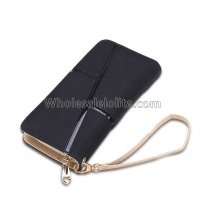 Hot sale fashion black women wallets drawstring nubuck Leather zipper wallet women's long design purse