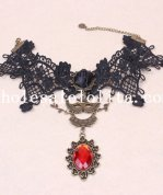 Royal Gothic Vintage Black Lace Collar Choker Ruby Pendant Necklace