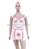 Sexy White and Red Latex Nurse Uniform Cosplay Costume