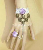 Gothic Purple Rose Bronze White Lace Bracelet & Ring