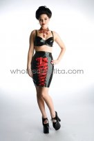 Black Latex Bra Top and Red Lace Up Skirt Suits