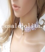 Gothic Handmade Fashion Pearl Pendant White Lace Necklace for Wedding Prom