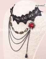 Vintage Gothic Black Lace Collar Choker Multi Layer Pendant Necklace