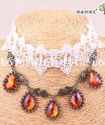 Hotsale Charm White Lace Ruby Pendant Chain Collar Choker Necklace for Wedding Prom
