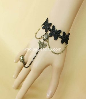 Popular Gothic Retro Black Lace & Bronze Butterfly Bracelet & Ring