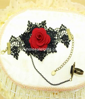 Retro Black & Red Rose Gothic Vampire Cosplay Bracelet & Ring