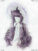 Violet Long Cruly Hair Lolita Wig for Girls