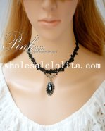 Fashion Black Lace Collar Choker Gem Pendant Necklace for Women's Gift