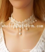 Hotsale Vintage White Lace Pearl Pendant Collar Choker Necklace for Women