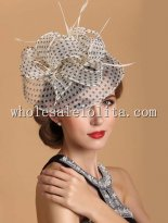 New Exquisite Flax Dotted Vintage British Dress Hat with Headband