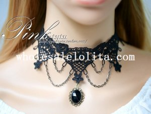 Gem Pendant Fashion Vintage Black Lace Flower Collar Choker Necklace for Women
