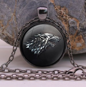 Free Shipping Game of Thrones Necklace Pendant House of Stark Black Wolf Jewelry Gothic Glasses Pendant Necklace Sweater Chain Gift For Kids